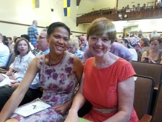 BOE member Stephanie Lawson-Muhammed and Principal Tina Lehn