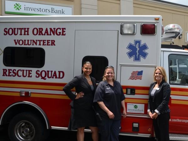 Lissette Morales, Investors Assistant Vice President and Branch Manager; South Orange Rescue Squad President Melanie Troncone; and Kristen L. Koscielak, Investors personal banker