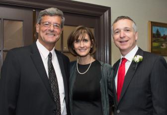 Mayor Vic DeLuca, Ellen Zimiles and Jonah Zimiles at the 2014 Maplewood Chamber of Commerce dinner. Credit: Joy Yagid.