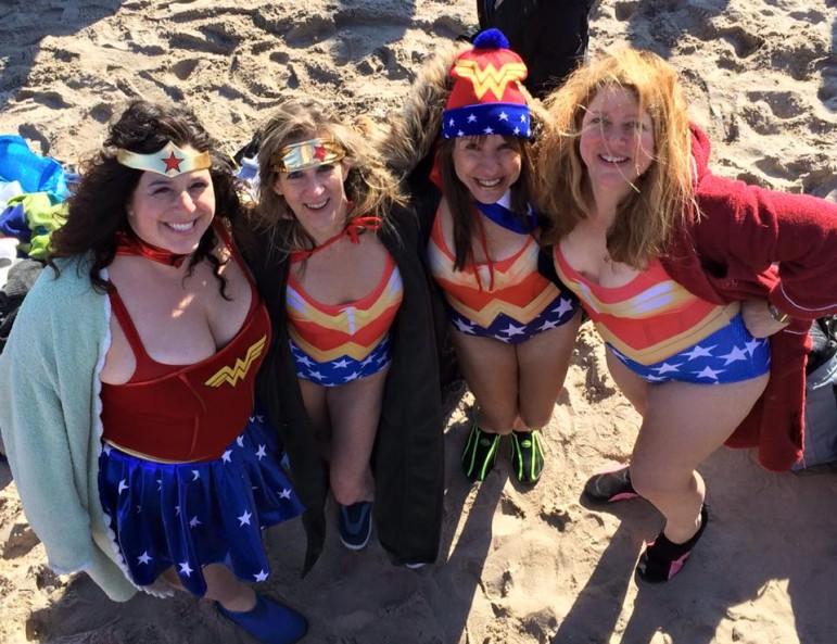 Jennifer Grieshober Griola, Peggy Excell, Jennifer Weiss-Wolf, Lisa Duggan at the 2015 Coney Island Polar Bear Swim (courtesy Peggy Excell)