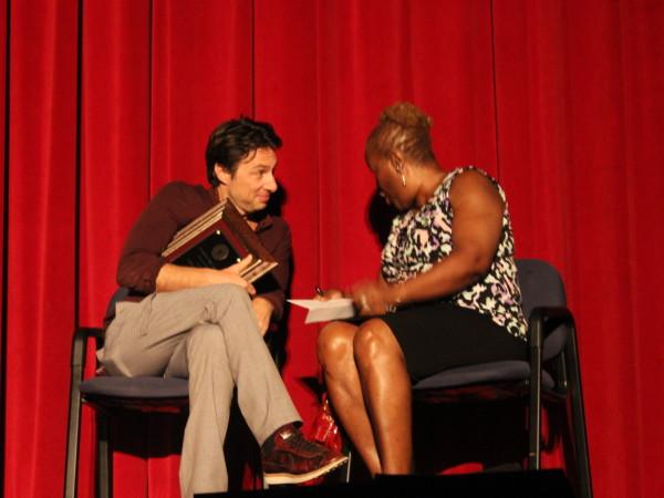 Zach Braff talks with Johanna Wright, his middle school PE teacher, now Board of Education member