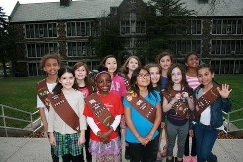 Brownies Troop 20874 outside Jefferson School