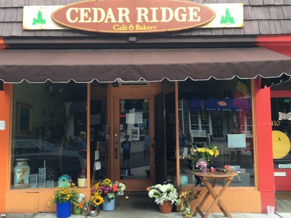 flowers left outside Cedar Ridge Cafe