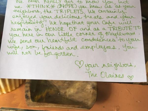 A note outside Cedar Ridge Cafe